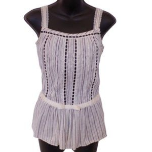 Guess Cotton Cami w/Black Ribbon & Topstitching- S
